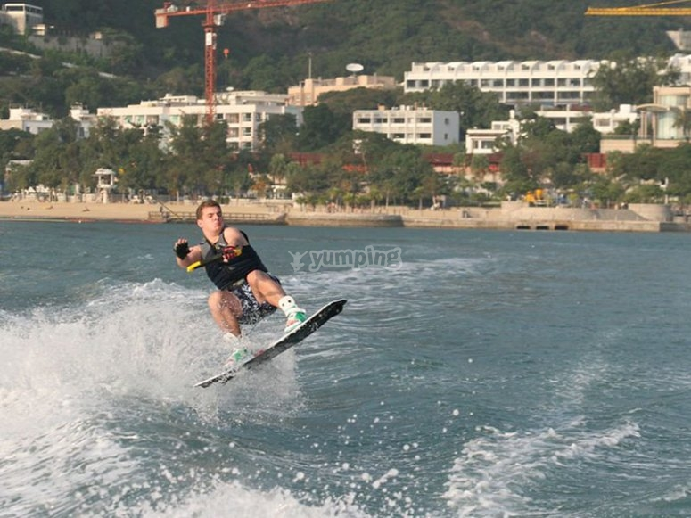 Doing tricks on a wakeboard