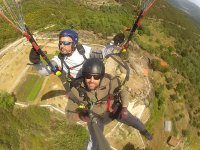 In tandem with the paragliding instructor