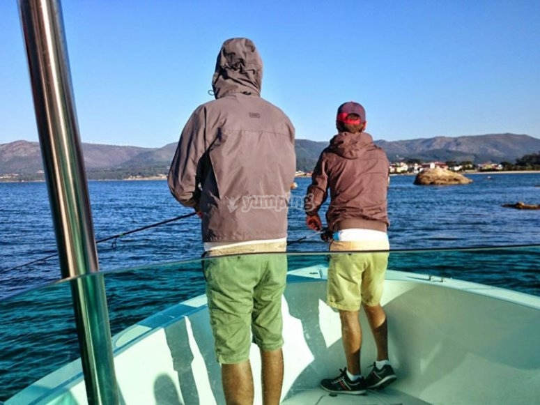 Father and son fishing cuttlefish