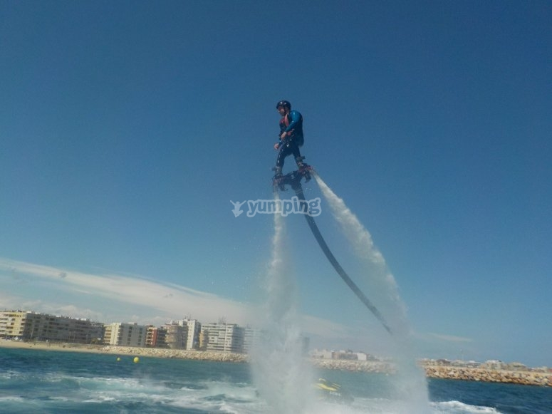 Flying on a flyboard