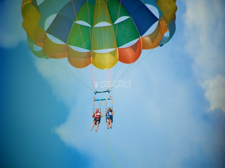 During the parasailing flight