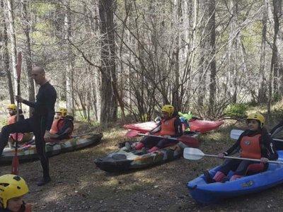 Canoe route initiation into rapids in Alto Tajo