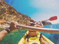 Couple enjoying a day kayaking