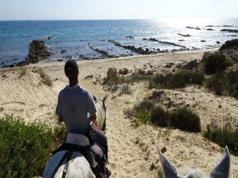 Llegando a la playa a caballo
