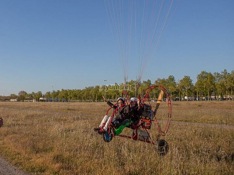 Taking off in the paramotor