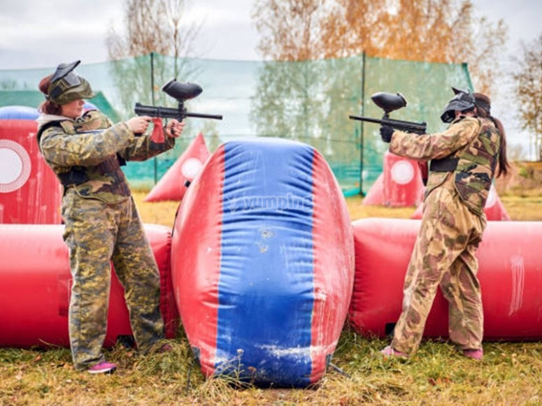 Face to face with the enemy in a paintball game