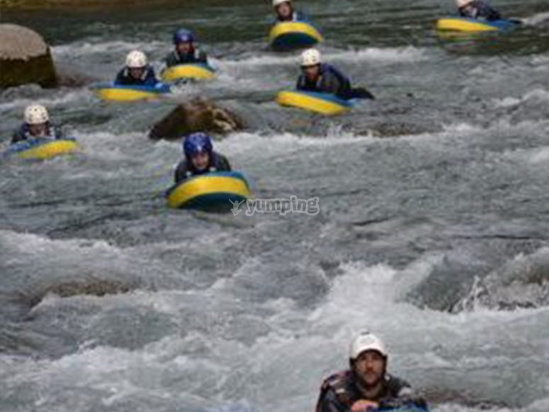 Enjoying whitewater with friends in hydrospeed