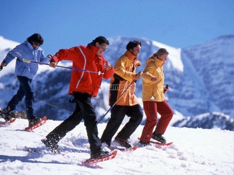 享受雪鞋游览的朋友