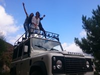 Girls on the roof of the SUV