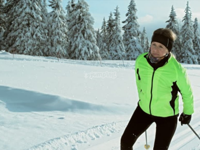 Practicing cross-country skiing