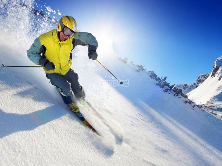 Practicing ski