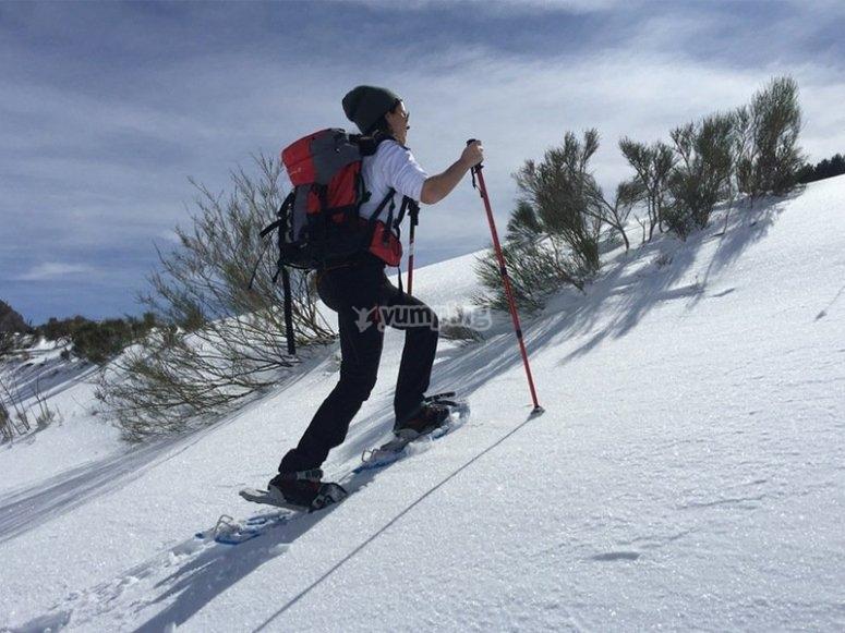 Raquetas de nieve en el sumidero de Aigualluts