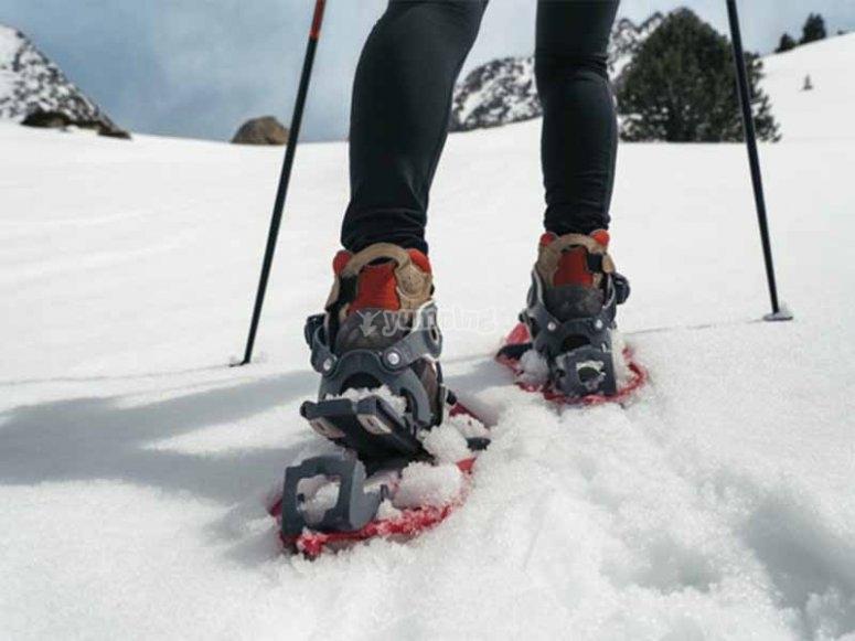 Divirtiéndonos con una ruta con raquetas de nieve