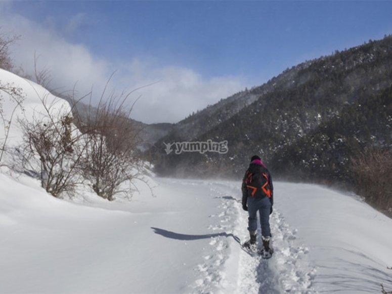Aventura con raquetas de nieve
