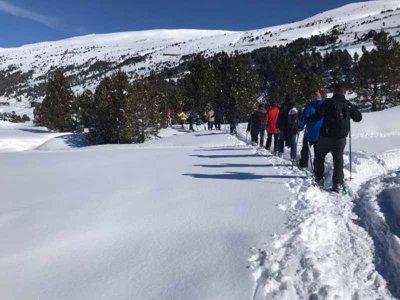 恩坎普(Encamp)的Llacs de Passons中的雪鞋行走3小时