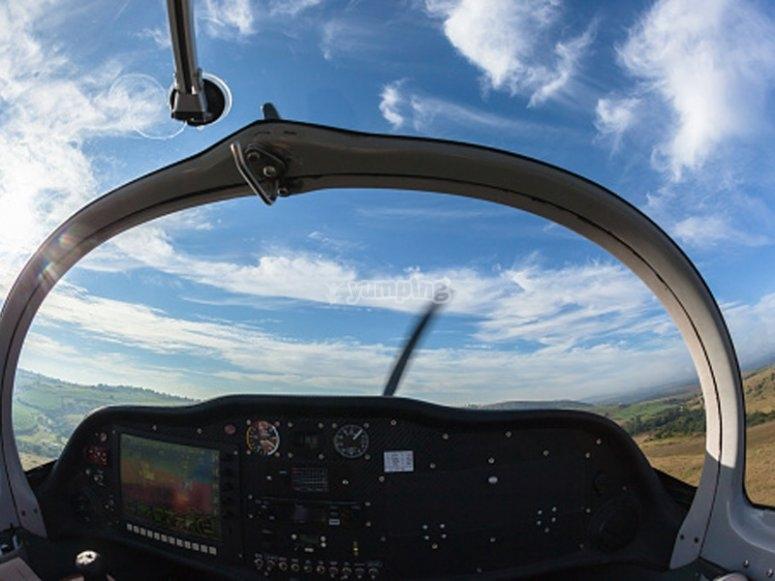Vistas desde la cabina de la avioneta