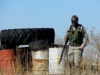 man in an airsoft field