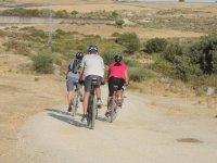 Grupo de ciclistas por el camino