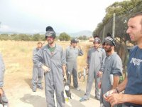Paintball players on a break