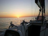 atardecer en el barco