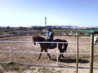 Alumna de equitación durante la clase