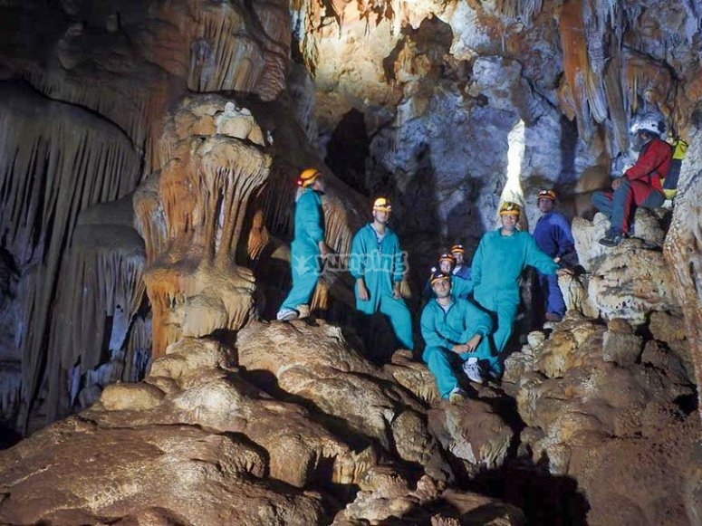 Caving with friends