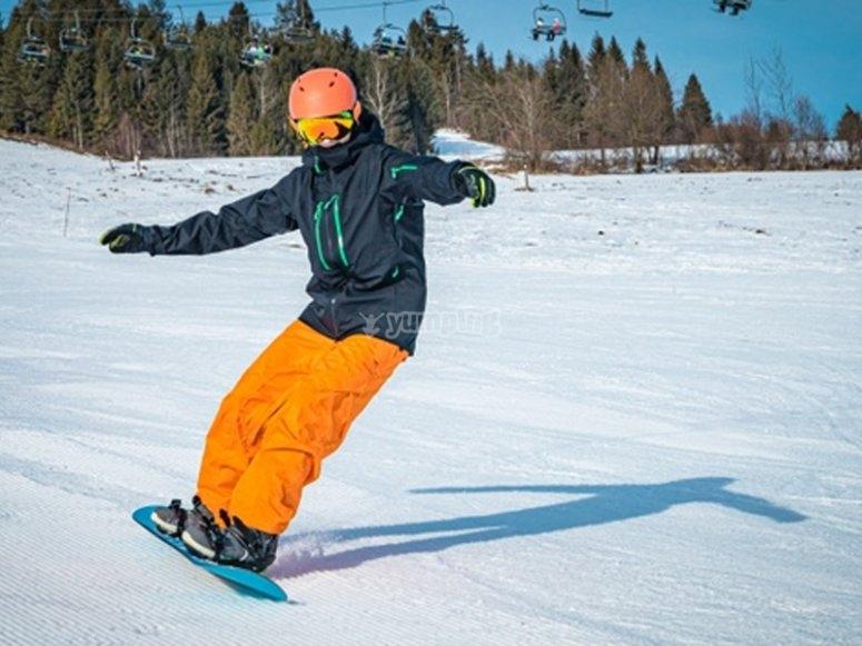 享受滑雪板课程