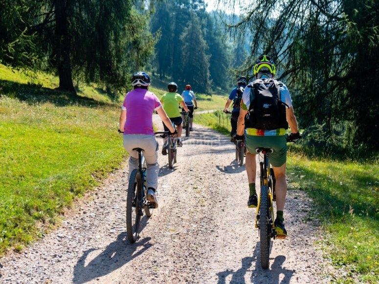 Group on mountain bikes through Huesca