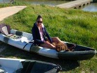 Prepared for departure in kayak