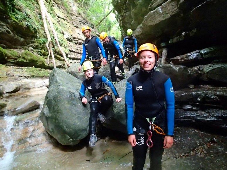 Enjoying a canyoning route