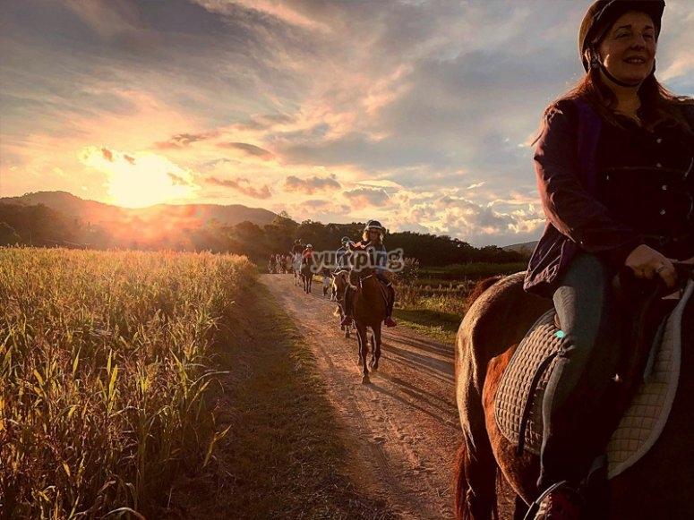 Ruta a caballo al atardecer