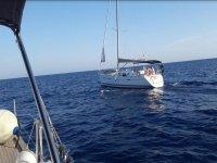 Viendo el velero desde el barco