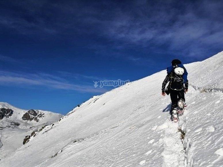 Enjoying a snowshoe route