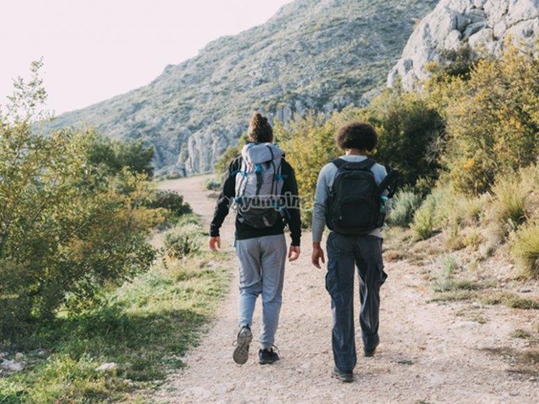 Enjoying a hiking route