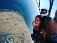 Parachute jumping over the Maspalomas dunes
