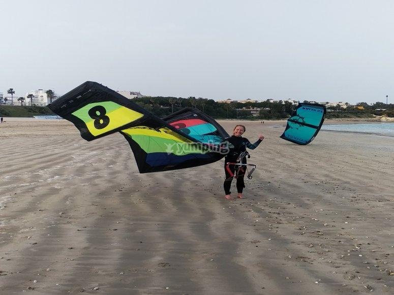 Entre cometas de kitesurf