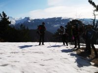 Enjoying a tour in the snow with snowshoes