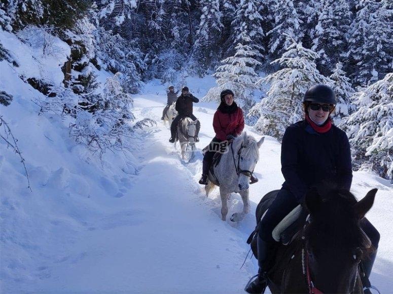 在比利牛斯山脉与雪一起骑马