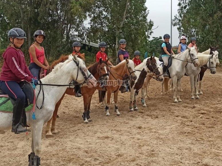 Listos para un paseo a caballo
