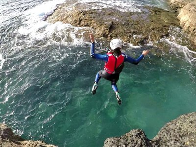 Aquatic canyoning in Caleta beach in Agaete