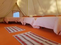 Beds in tent