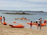 Going to the orange kayaks
