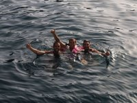 Swimming during the party boat