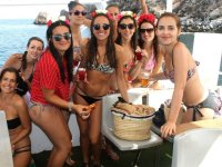 Group of friends in the boat party in Mojacar