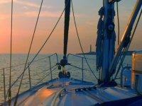 La puesta de sol desde el barco