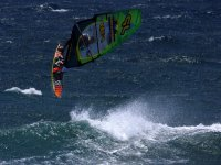 making a turn while windsurfing