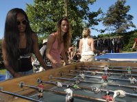 Play table football in the camp