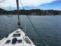 Llegando a puerto en el barco