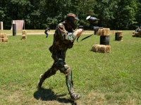 running in a paintball field