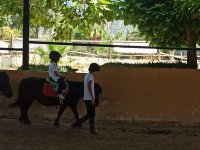 Practicing horse riding